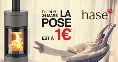 Du 14 au 24 mars 2018 la pose de votre poêle Hase est à 1€