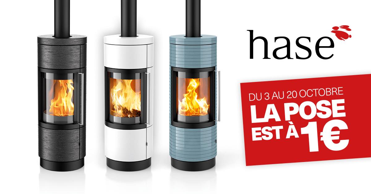 Poêles à bois et à granulés Hase : profitez de la pose à 1€ jusqu'au 20 octobre !