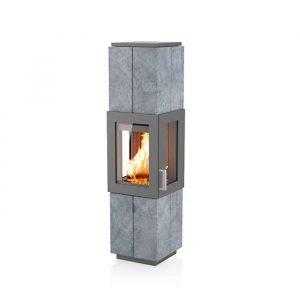 Poêle à bois Asmara finition : pierre ollaire - Coloris de l'acier du corps : Gris argenté