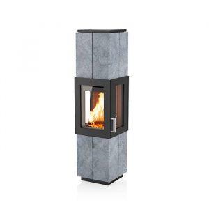 Poêle à bois Asmara finition : pierre ollaire - Coloris de l'acier du corps : Noir