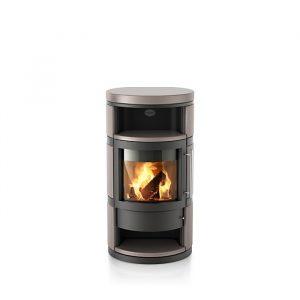 Poêle à bois Como finition : céramique lisse - Coloris de l'acier du corps : Noir - Couleur de céramique : Mojave