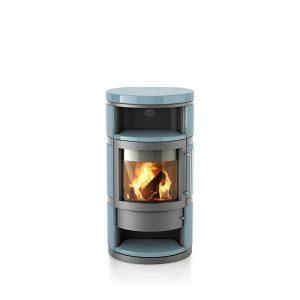 Poêle à bois Como finition : céramique lisse - Coloris de l'acier du corps : Gris Argenté - Couleur de céramique : Pacifique