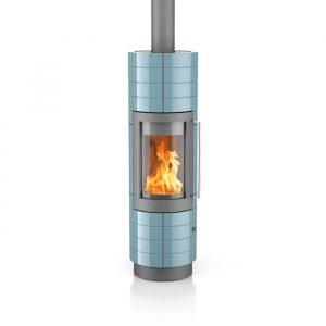 Poêle à bois Lisboa finition : Céramique rainurée - Coloris de l'acier du corps : Gris argenté - Couleur de la céramique : Pacifique