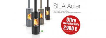 Profitez de notre offre exceptionnelle sur le poêle à bois Sila Acier