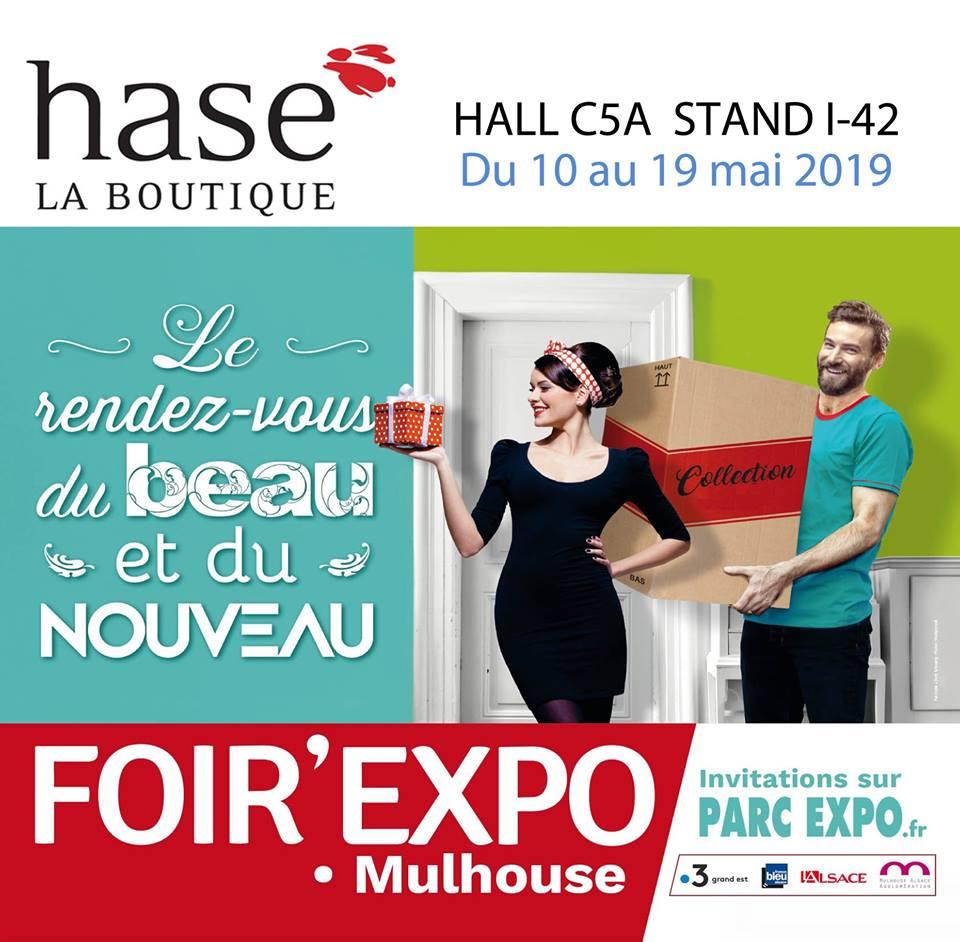 Hase présent à la Foire de Mulhouse (68) du 10 au 19 mai 2019