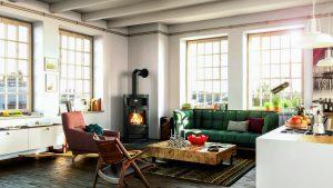 Poêle à bois et décoration d'intérieur