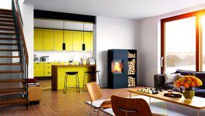 Décoration industrielle et poêle à bois design